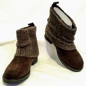 Muk Luks Patti Ankle Boots Dark Brown, Size 8